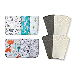 KaWaii Baby 6 Newborn Pure & Natural Cloth Diapers w/12 Bamboo Inserts 6-22 lbs/0-18 Months