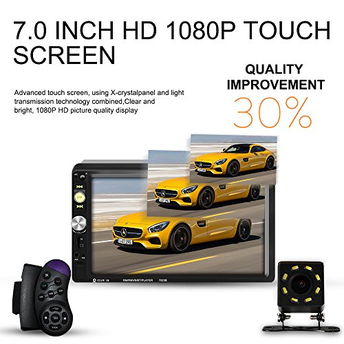 Upgraded 7 Inch Double Din Touch Screen Car Stereo Headunit with Free Rear Camera and Steering Wheel Control And Car Tuning Tools And Remote Control Support Mirror Link Audio Receiver - Unit Control Audio