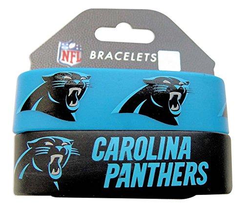 NFL Carolina Panthers Silicone Rubber Bracelet, 2-pack ()