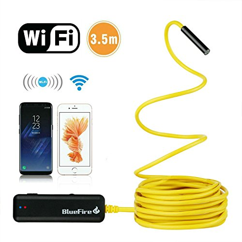 Flexible Endoscope - BlueFire Semi-rigid Flexible Wireless Endoscope IP67 Waterproof WiFi Borescope 2 MP HD Resolutions Inspection Camera Snake Camera for Android and iOS Smartphone, iPhone, Samsung, iPad, Tablet (11.5FT)