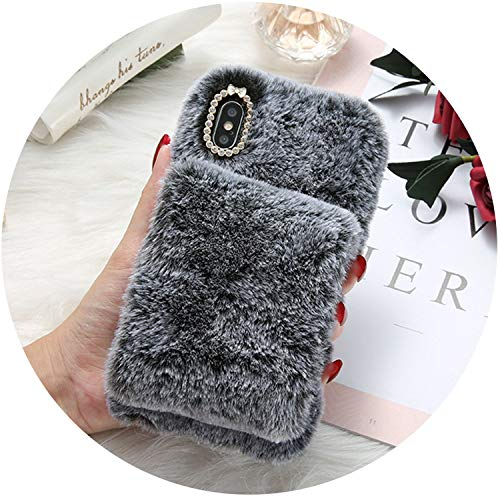 Soft Fur Case for iPhone X iPhone Xs MAX XR Phone Case for iPhone 7 8 6 6s Plus Cute Bling Diamond Winter Warm Cover Bag,Black,for iPhone Xs MAX