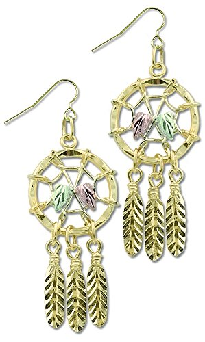 Dream Catcher Nature Jewelry - Black Hills Gold 10k Dreamcatcher Earrings with 12k Gold Leaves