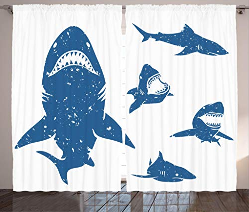 "Ambesonne Shark Curtains, Digital Big Shark with Distressed Effects Deep Ocean Natural Retro Design Print, Living Room Bedroom Window Drapes 2 Panel Set, 108"" X 90"", Blue"
