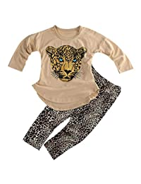 ggudd Girl's Leopard Long Sleeve T-Shirt Tops and Leggings Pants 2Pcs Clothes Sets for 2-8 Years