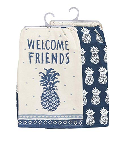 Primitives by Kathy Welcome Friends Pineapple Dish & Tea Towels (Set of 2)