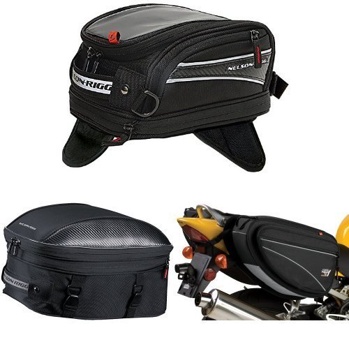 Nelson-Rigg CL-2014-MG Black Magnetic Mount Journey Mini Tank Bag, CL-1060-ST Black Sport Touring Tail/Seat Pack, and CL-950 Black Deluxe Sport Touring Saddle Bag Bundle