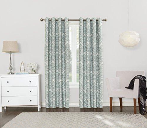 Sun Zero Caroline Woven Damask Blackout Lined Curtain Panel, 52″ x 84″, Aqua Teal