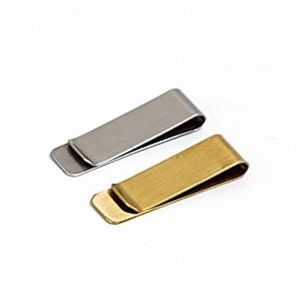 2 Pieces Assorted Money Clip Classic Cash & Credit Card Holder Wallet, Vintage Brass & Stainless Steel Cash Card Holder Utility Bills Organizer ( 51 x 20 x 17mm) Seven & Nine Service