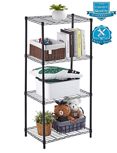 AOOU Shelf 4-Tier Shelving Unit, Wire Shelf Unit Free Standing, Classic Metal Steel Storage Rack Sturdy for use in Pantry, Living Room, Kitchen, Garage, Coated with Black