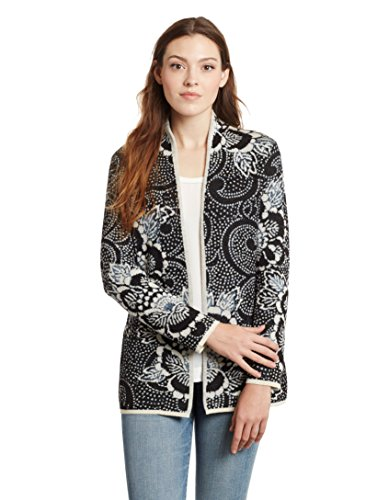 Invisible World Women's Baby Alpaca Sweater Long Cardigan Open Jacket Spring M Black/Ivory