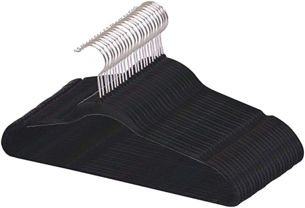 Best, Sturdy and Non-Slip Black Steel Indoor Flocked Suit/Clothes Hangers (Pack of 25)