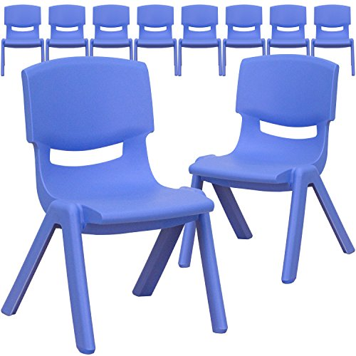 (Flash Furniture 10 Pk. Blue Plastic Stackable School Chair with 10.5'' Seat Height )