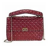 Valentino Rockstud Spike Leather Shoulder Bag - Rubino