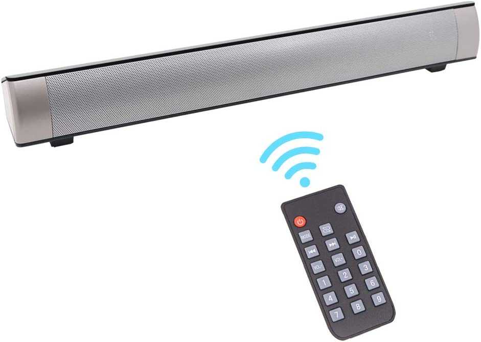 Home Theater Audio Sound Bar, Wired & Wireless Outdoor/Indoor Bluetooth Stereo Speaker with Remote Control, 2 X 5W Mini Sound bar Built-in Subwoofers for Phones/Tablets/PC/Desktop Projector