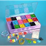 Loom Rainbow Rubber Band Complete Collection Organizer Storage Kit - Includes 4000 Rainbow Rubber Bands, 120 S Clips, All In a Convenient Storage Organizer Case