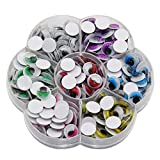 HotDiyCraft Giant Wiggle Googly Eyes Sticky Patch 240 Pcs Mixed Sizes 10 mm Multicolor Self Adhesive Color Assorted Big Wiggly Googlie Stickies