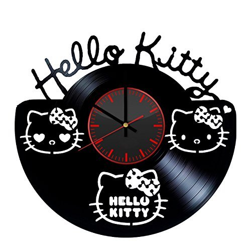 Taniastore Hello Kitty Silhouette Design Vinyl Record Wall Clock Unique gifts for him her Gift Ideas for Mothers Day Father birthday anniversary wedding cute and original gifts for everybody