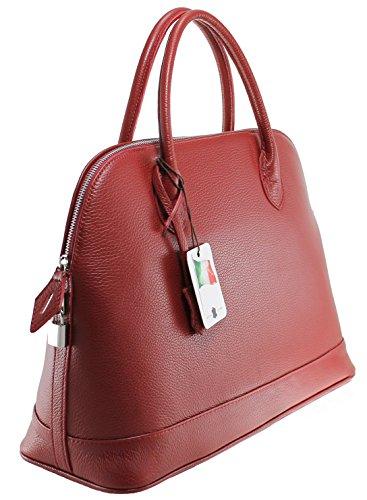 cuir Rouge 100 Italy classiques in femmes CTM Sac 40x30x15cm véritable des élégant Made I7nUBp