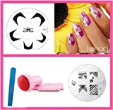 Bundle 4 Items: Konad Nail Art New Image Plate M86 + M81 + Stamper & Scraper + A-viva File