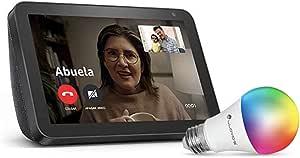 Echo Show 8 con Lloyds Foco Inteligente WiFi, Multicolor + Luz Blanca Fría y Cálida, Negro