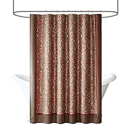 Amazoncom Madison Park Talbot Style Weave Red And Brown Shower
