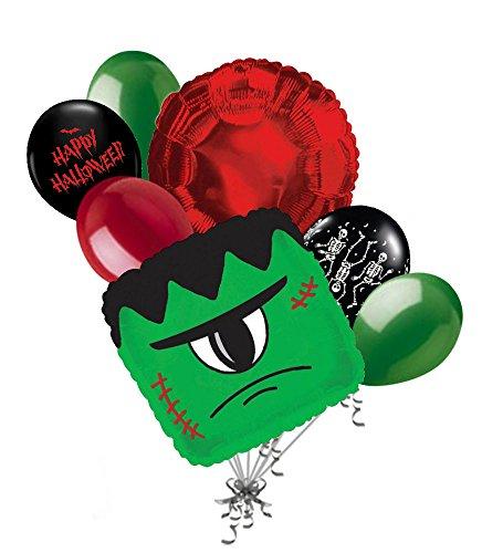 Skeleton Halloween Balloon Bouquet (7 pc Green Monster Happy Halloween Balloon Bouquet Party Decoration Frankenstein)