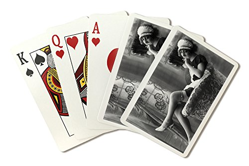 Pin-Up Girl in French Maid Outfit Smoking and Sitting- Vintage Photograph (Playing Card Deck - 52 Card Poker Size with Jokers)]()