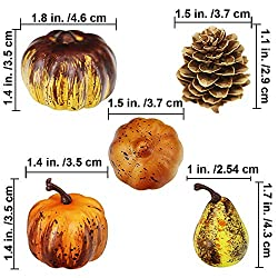 besttoyhome Miniature Artificial Pumpkins and Gourds Pine Cones Acorn Rustic Decoration Crafts for Fall Crafts - Faux - Dollhouse - Halloween & Thanksgiving Decor - Bowl Fillers - Assorted