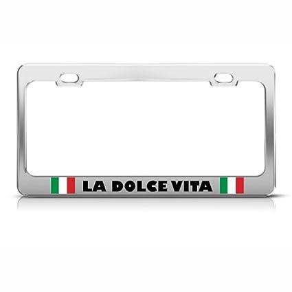 Amazon.com: La Dolce Vita Italian Flag Metal License Plate Frame Tag ...