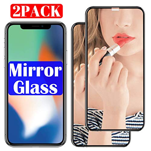 2 Pack【Mirror Effect】 xs Screen Protector Mirrored Glass Compatible with Apple iPhone x/xs Tempered Glas 9h for i phonex x s 10 10s sx Steel Cover Film Phone xphone XSPhone 5.8inch