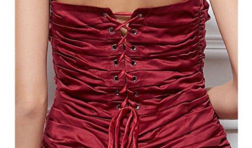 Beauté Emily Sans Manches En Satin Tube De Robes De Soirée Plissée Vin Rouge