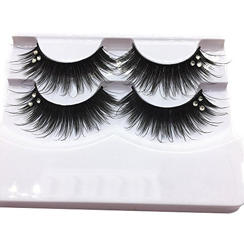 (WFFO 2 Pair Luxury 3D False Lashes Fluffy Strip Eyelashes Long Natural Party)
