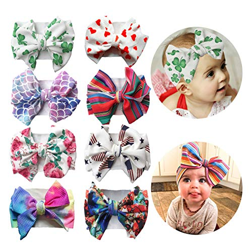 2019 Big Hair Bow Baby Headbands Knot Headwrap Nylon Elastic Head Wraps for Newborn Infant Toddler Hair Accessories (2019-F 8 Pack)