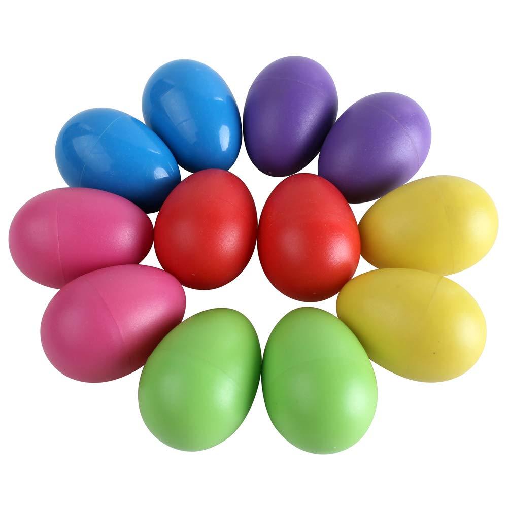 Zicome 12-Piece Plastic Egg Shakers Percussion Musical Egg Maracas Kids Toys (6 colors)