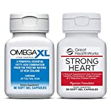 Bundle 2 Pack - Omega XL 60 Count Joint Pain Omega 3 Supplement + Strong Heart 30 Count Omega 7