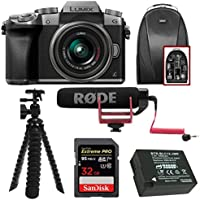 Panasonic LUMIX G7 Interchangeable Lens (DSLM) Camera w/14-42mm Lens (Silver) & Camera Mic & Accesory Bundle
