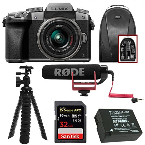 (Panasonic LUMIX G7 Interchangeable Lens (DSLM) Camera w/ 14-42mm Lens (Silver) & Camera Mic & Accesory Bundle)
