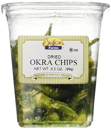 Setton Farms Vegetable Chips, Dried Okra Chips with Sea Salt Container, 3.5 oz.