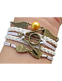 Golden Snitch and Deathly Hollows Bracelet Harry Potter Inspired White Rope Bracelet