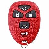 KeylessOption Keyless Entry Remote Control Car Key Fob Replacement 15913415 -Red