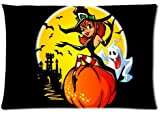 Fabulous Store Cutsom Rectangle Glad Halloween Witch and Ghost Pillow Cases Covers Standard Size 20x30(one side)