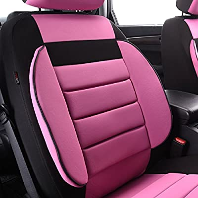 New Arrival- CAR PASS 6PCS Elegance Universal Two Front Car Seat Covers Set,Foam Back support,Airbag Compatible(Black And Rose Red): Automotive