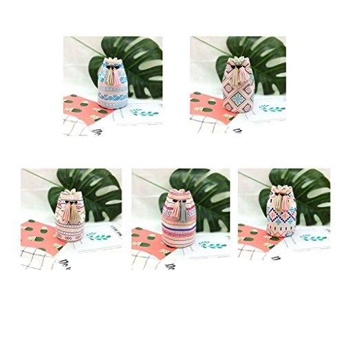 Chilie Zero Wallet Girls Cordón Imprimir Cuero Bucket Forma Mini Portátil Tarjeta De Crédito De Auriculares Bolso Monedero De Moneda #1 #4