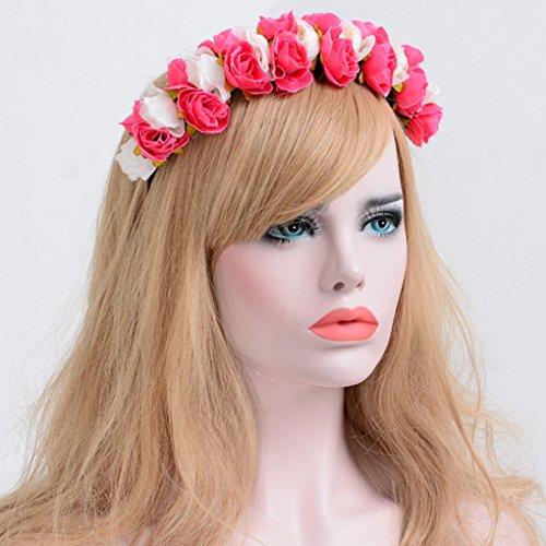 Floral Bandeau Acmede Rose Serre Couronne Mariage Vacances Cheveux Plage De Tête Fleurs xIIdrq