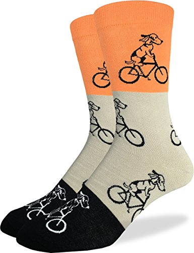 Good Luck Sock Men's Orange Dogs Riding Bikes Crew Socks, Shoe size 7-12, - Bike Socks