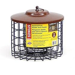 Stokes Select Squirrel Proof Double Suet Bird Feeder with Metal Roof, 10-Inch Diameter, 2 Suet Cake Capacity