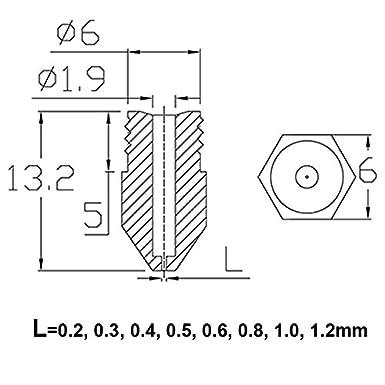 0.5mm 0.8mm 1.0mm Extruder Print Head fit 1.75mm Filament Makerbot Creality CR-10 ANET A8 0.6mm 0.4mm Zerci 24 Pieces 3D Printer Nozzles MK8 Nozzle 0.2mm 0.3mm