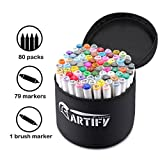 Artify Artist Alcohol Based Art Marker Set/ 80 Colors Dual Tipped Twin Marker Pens with Carrying Case/AP Certified