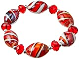 Linpeng BR-1530 Oval Lampwork Glass Beads Faceted Rondelle Crystal Stretch Bracelet, Red