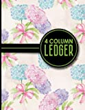 img - for 4 Column Ledger: Accounting Bookkeeping Notebook, Accounting Record Keeping Books, Ledger Paper Pad, Hydrangea Flower Cover, 8.5
